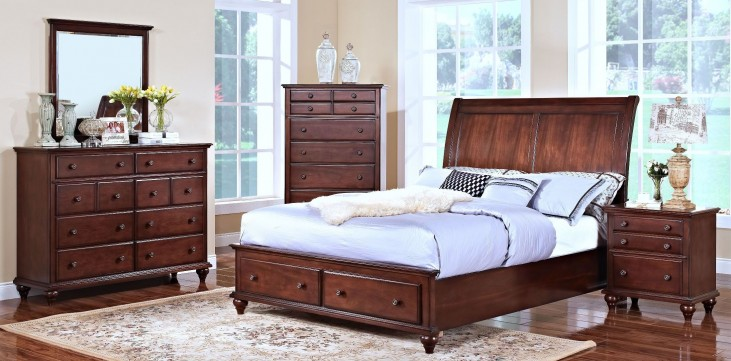Spring Creek Tobacco Sleigh Storage Bedroom Set