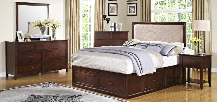 Serenity African Chestnut Storage Bedroom Set