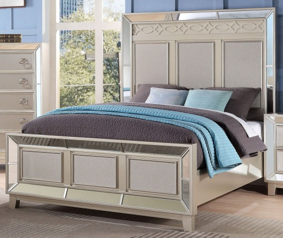 Stefano Silver Cal. King Panel Bed