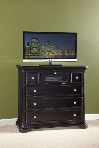 Maryhill Rubbed Black 5 Drawer Media Console