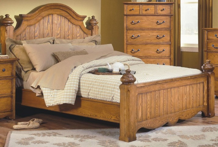 Hailey Toffee King Poster Bed