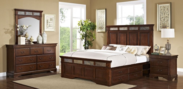 Madera African Chestnut Panel Storage Bedroom Set