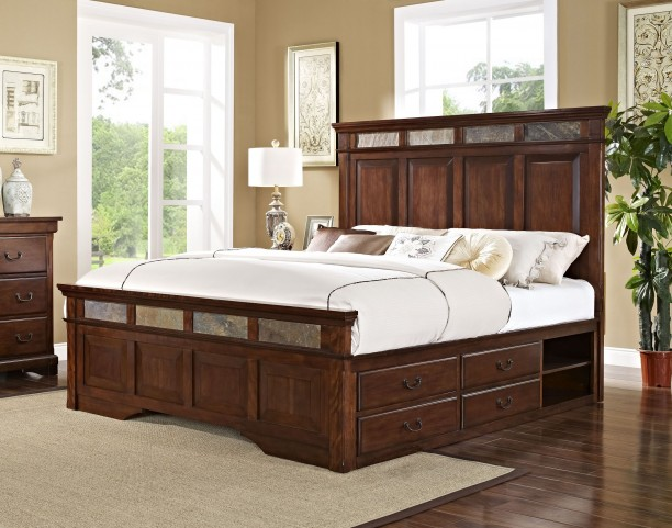 Madera African Chestnut King Panel Storage Bed