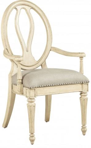 European Cottage Vintage White Arm Chair