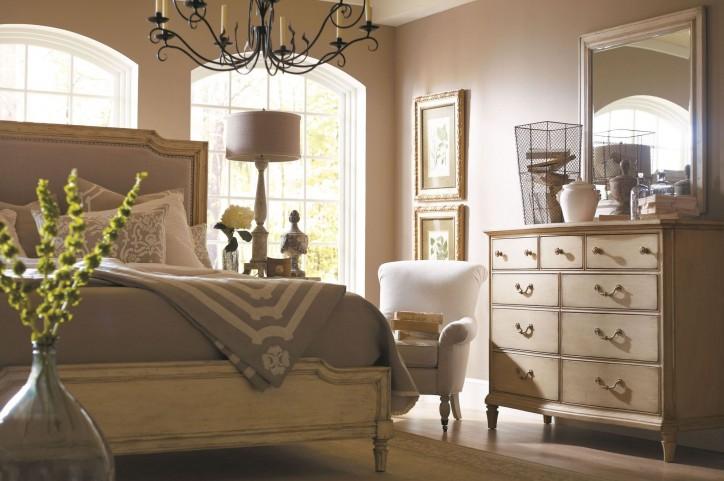 European Cottage Vintage White Upholstered Bedroom Set
