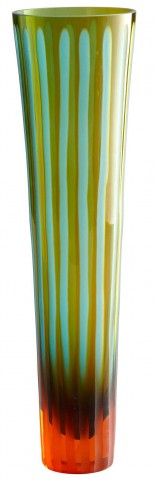 Cyan-Orange Strip Large Vase
