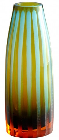 Cyan-Orange Strip Small Vase