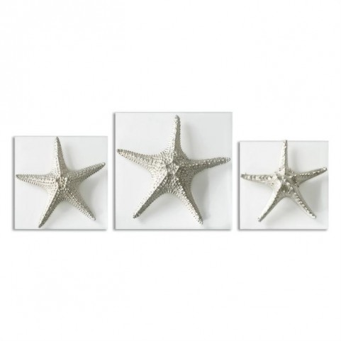 Silver Starfish Wall Art Set of 3
