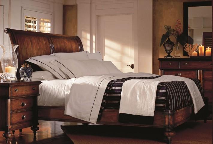 British Colonial Sleigh Bedroom Set