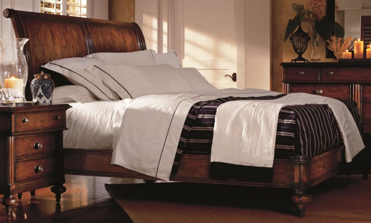 British Colonial Queen Sleigh Bed