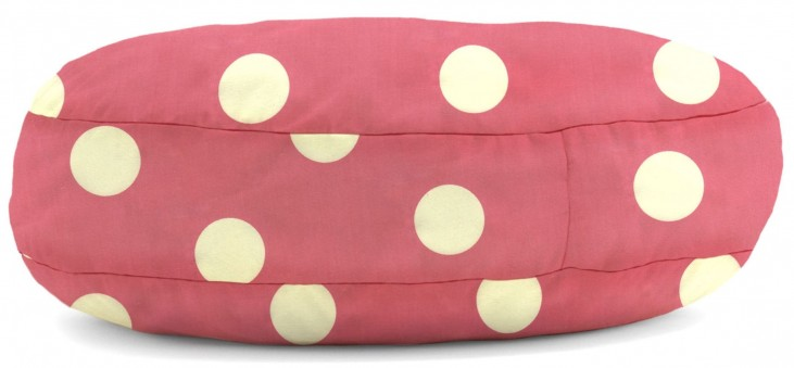 Big Joe Wuf Fuf Pet Bed Small Round Pink with White Dot Twill
