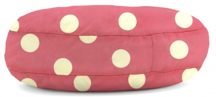 Big Joe Wuf Fuf Pet Bed Large Round Pink with White Dot Twill