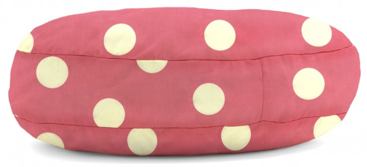 Big Joe Wuf Fuf Pet Bed X-Large Round Pink with White Dot Twill
