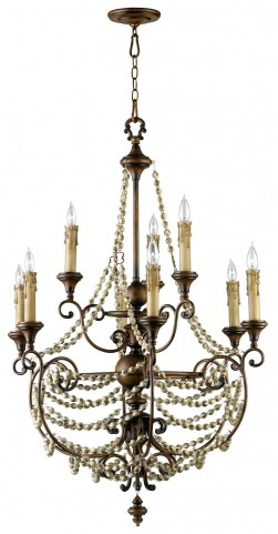 Meriel Antiqued Sienna 9 Light Chandelier