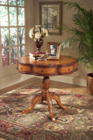Masterpiece Chatham Olive Ash Burl Clover Pedestal Table