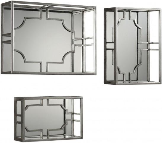 Adoria Silver Wall Shelves Set of 3