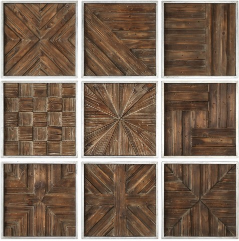 Bryndle Rustic Brown Wooden Squares Set of 9