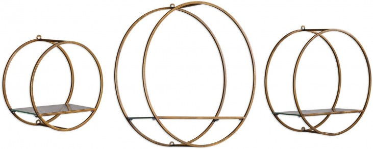 Ellison Gold Drum Cage Shelves Set of 3