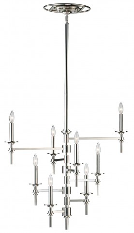 Omega 8 Light Polished Nickel Chandelier