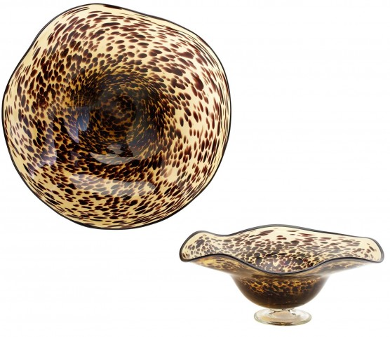 Art Glass Leopard Large Bowl