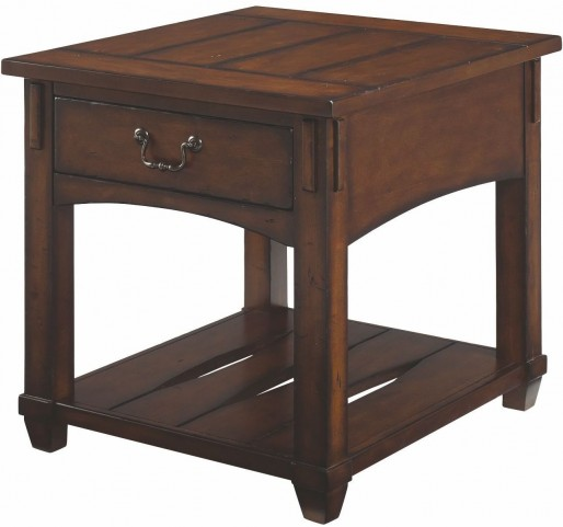 Tacoma Medium Brown Rectangular Drawer End Table