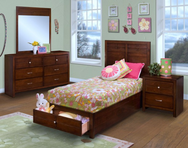 Kensington Burnished Cherry Youth Platform Storage Bedroom Set