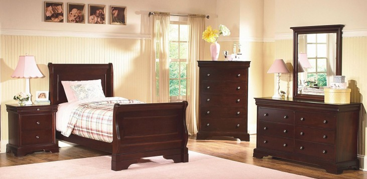 Versaille Bordeaux Youth Sleigh Bedroom Set