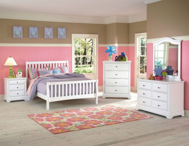 Bayfront White Youth Slat Bedroom Set