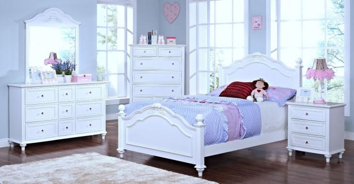 Megan Youth White Poster Bedroom Set