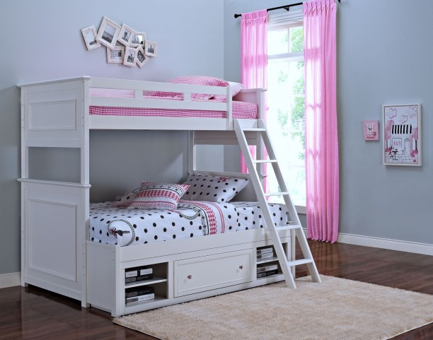 Megan Youth White Twin Over Full Storage Bunk Bed
