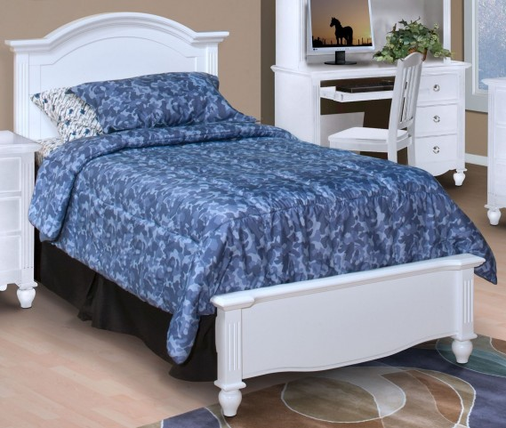 Victoria White Twin Panel Bed