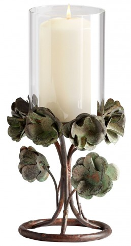 Leigh Green Rose Small Candleholder