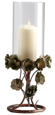 Leigh Green Rose Large Candleholder