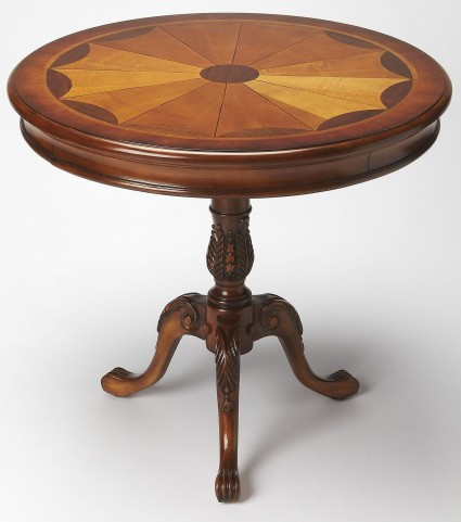Plantation Cherry Carissa Olive Ash Burl Round Pedestal Table