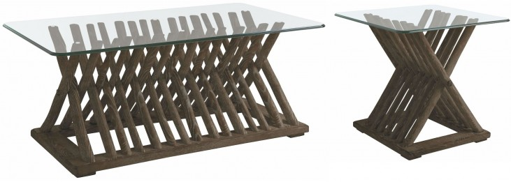 Coastal Living Resort Channel Marker Driftwood Flats Occasional Table Set