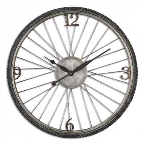 Spokes Aged Wall Clock