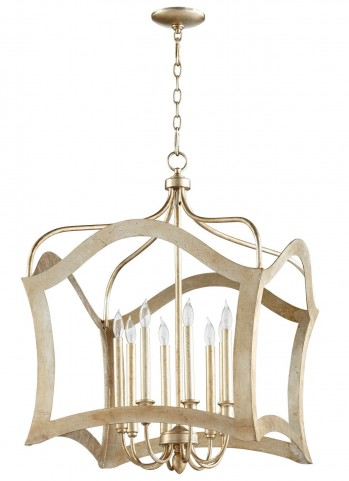 Milan Aged Silver Leaf 8 Light Pendant