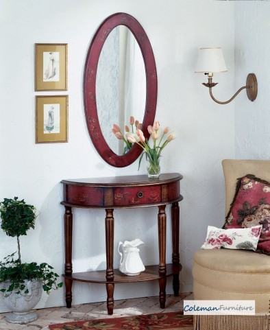 Red 667065 Demilune Console Table