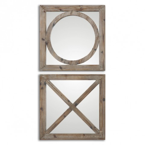 Baci E Abbracci Wooden Mirrors Set of 2