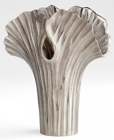 Alloy Palm Textured Nickle Small Vase