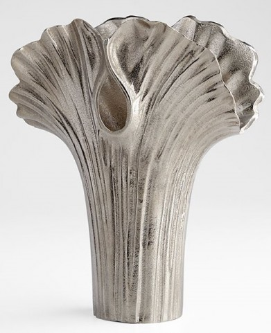 Alloy Palm Textured Nickel Large Vase