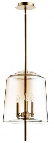 Lusterous Satin Brass 3 Light Pendant
