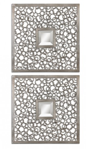Colusa Squares Silver Mirror Set of 2