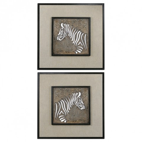Zebra Squares Wall Art Set of 2