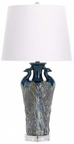 Two Birds Blue Table Lamp