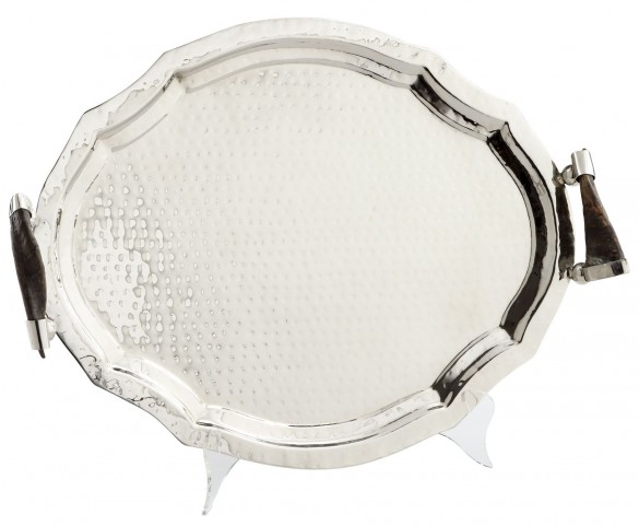 Medium Horn and Silver Hammered Home Tray