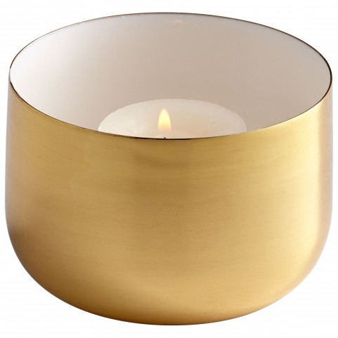 Brass and White Cup O' Candle