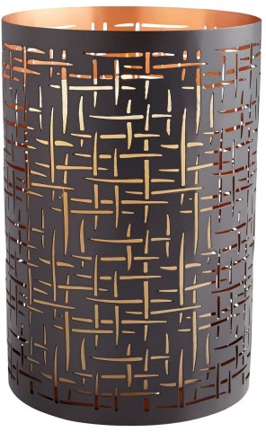 Large Brown and Copper Weave Candleholder