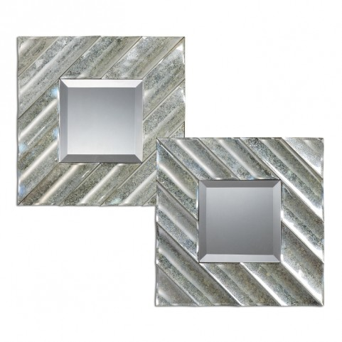 Jovan Squares Silver Mirror Set of 2