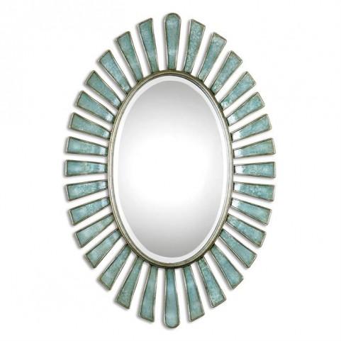 Morvoren Blue-Gray Oval Mirror